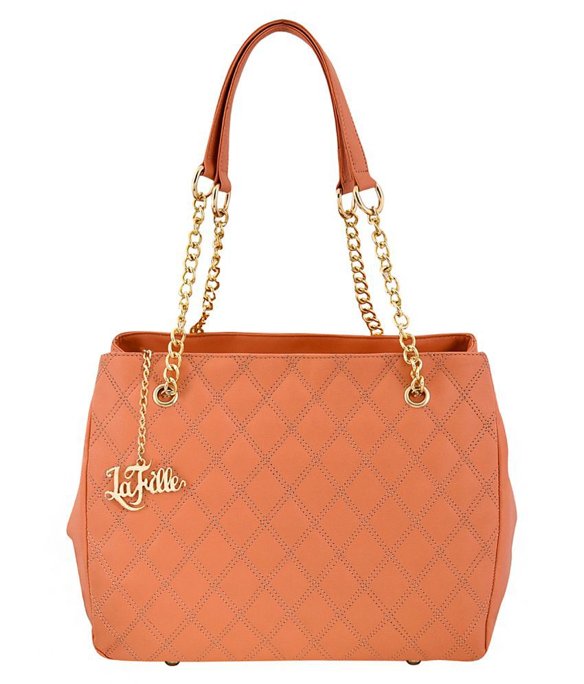LaFille Peach Faux Leather Handheld