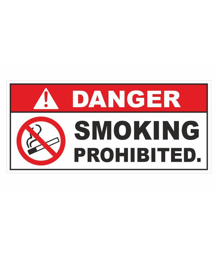 Danger - No Smoking Prohibited Sticker for Petrol Pump (Pack of 10) 11cm X 5 cm