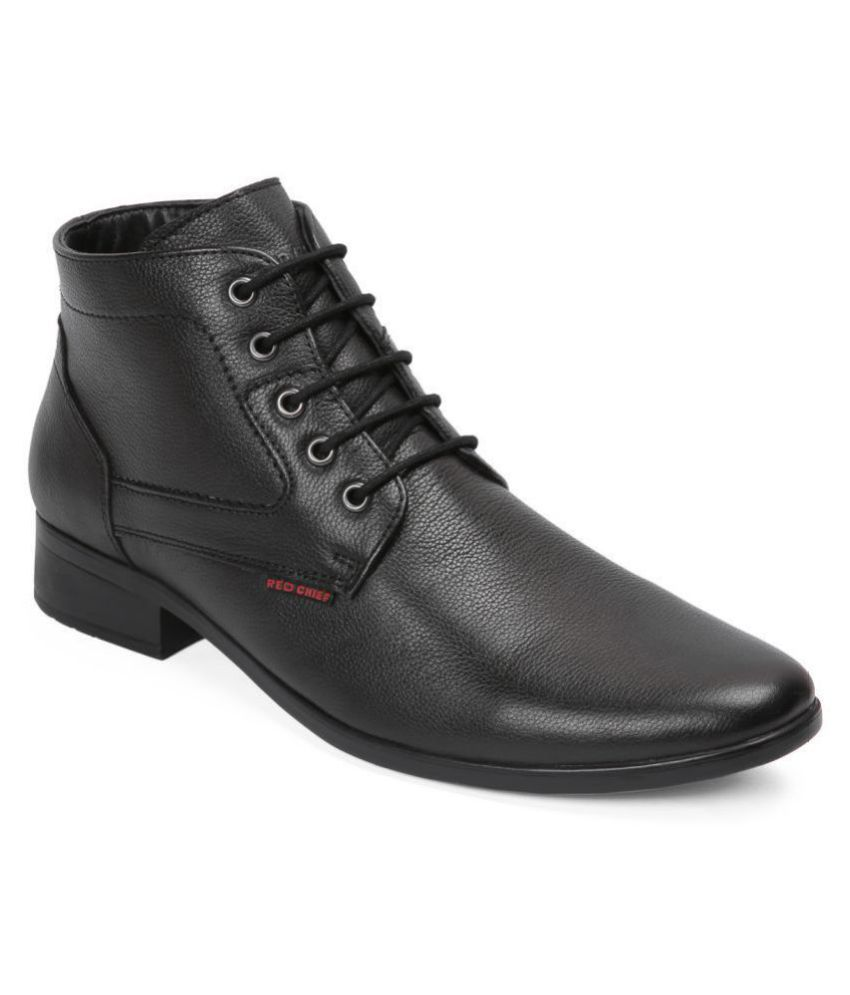 Red Chief Derby Genuine Leather Black Formal Shoes