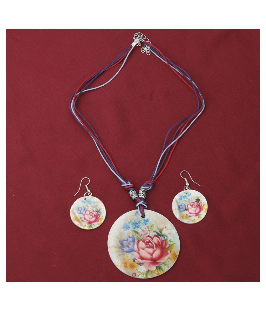 SILVER SHINE Stylish Party Wear Round Pendant Set For Girl Women