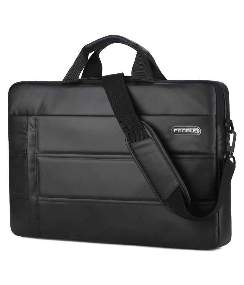Probus Leather Laptop Sleeve with Shoulder Strap For 15.6 Inch Laptop - Black