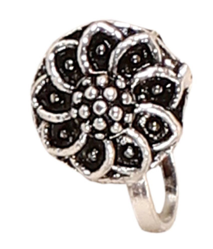 Sunhari Jewels Round Shape Silver Antique Clip-on Nosepin For Girls and Women