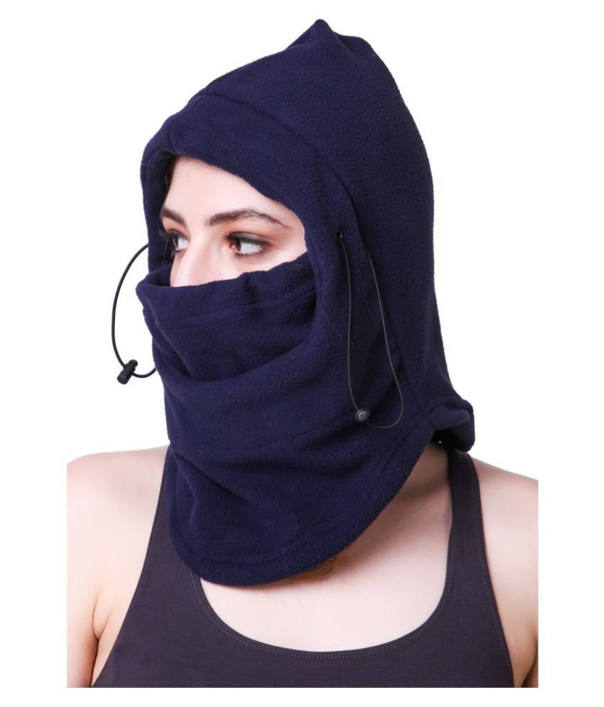 Snugg Fit 6 in 1 Thermal Polar Fleece Anti Pollution Face Mask Balaclava Snow Bike Outdoor Hiking Cap For Women- Large