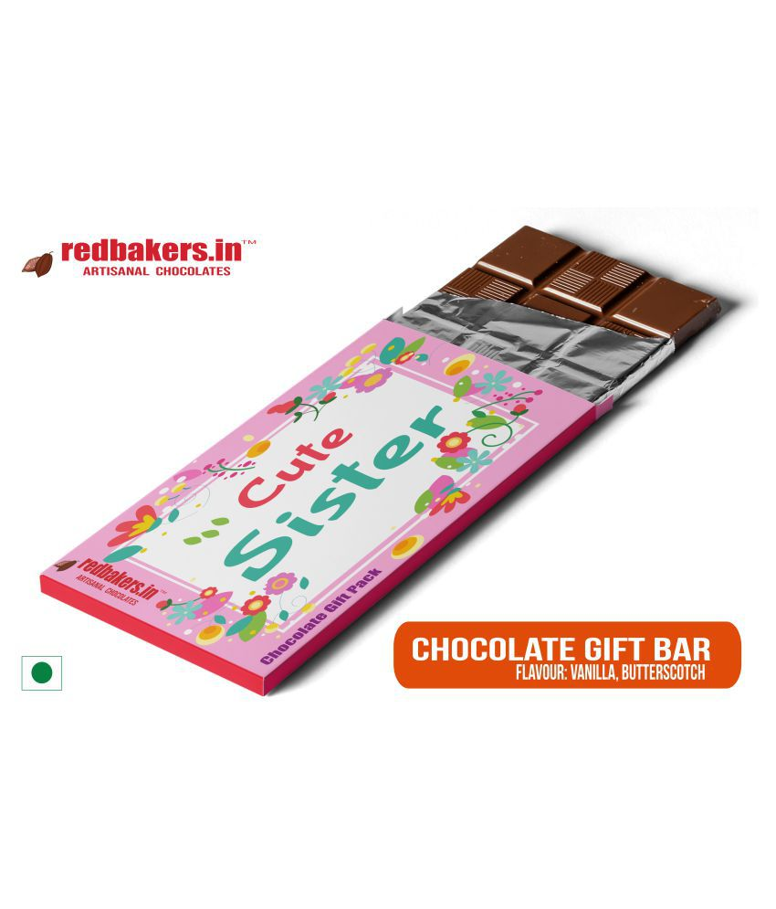 redbakers.in Chocolate Box Cute Sister Butterscotch Chocolate Bar 100 gm