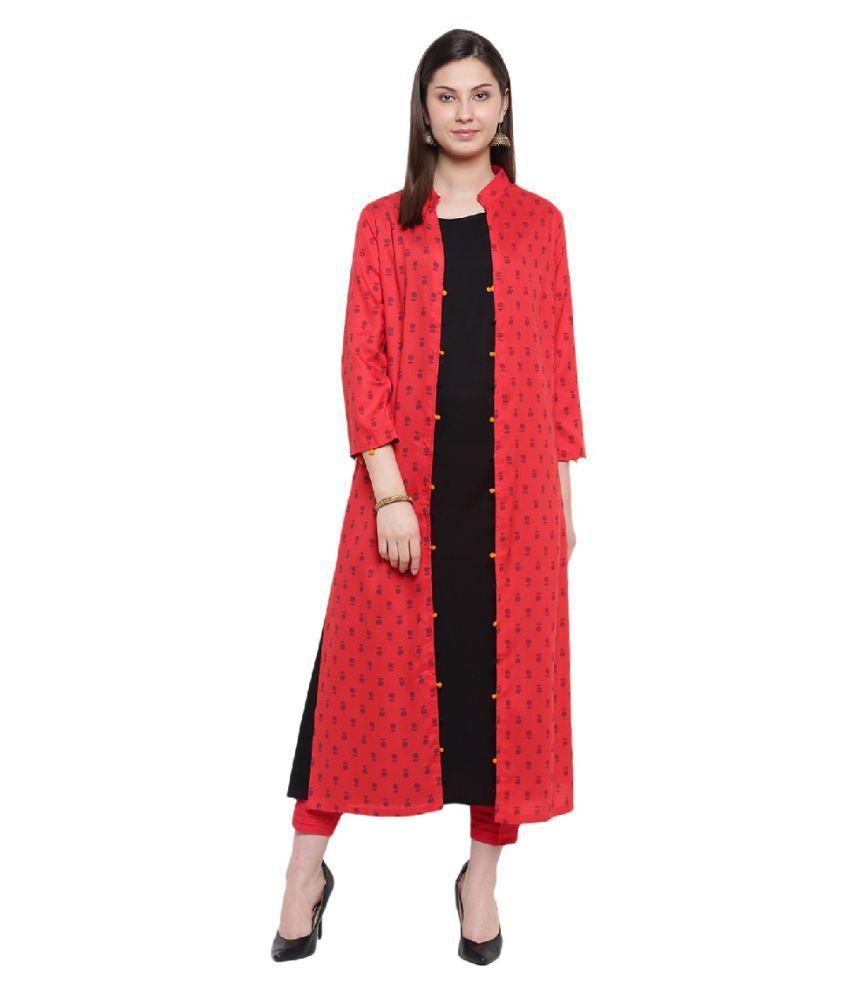 RIVI Rayon Red Asymmetric dress