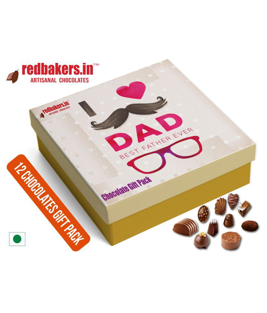 redbakers.in Chocolate Box Best Dad 12Chocolates Gift Pack 180 gm