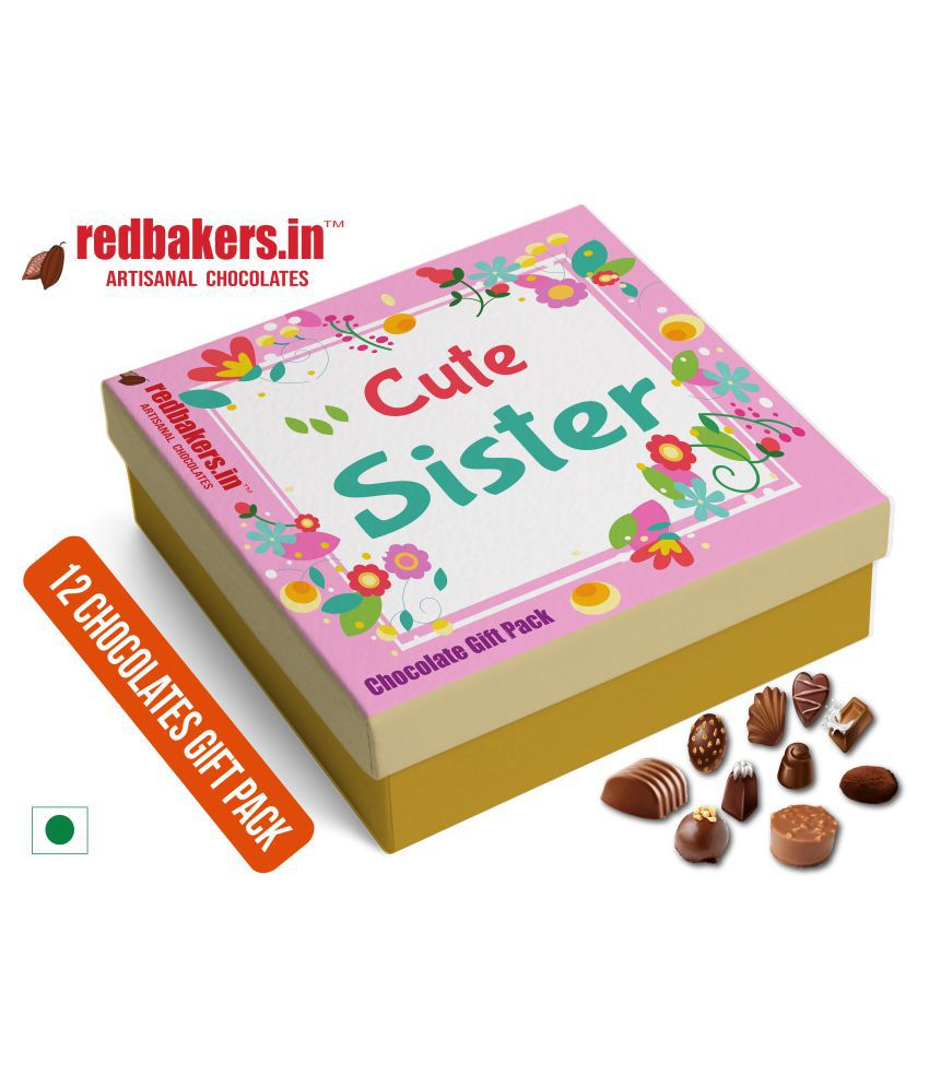 redbakers.in Chocolate Box Cute Sister 12Chocolates Gift Pack 180 gm