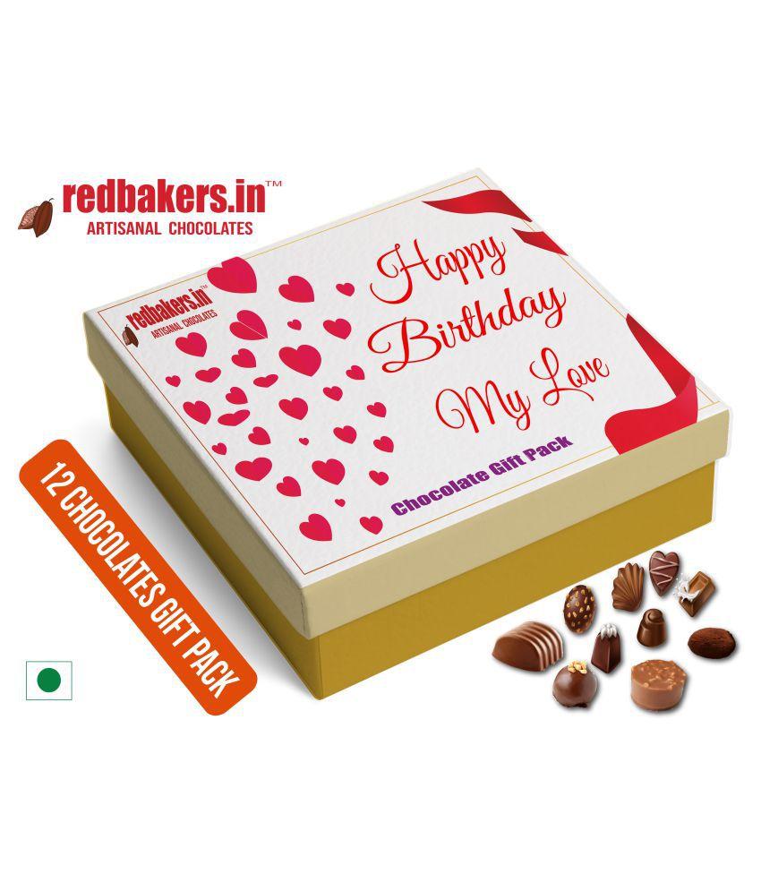 redbakers.in Chocolate Box Happy Birthday MYLOVE 12Chocolates Pack 180 gm