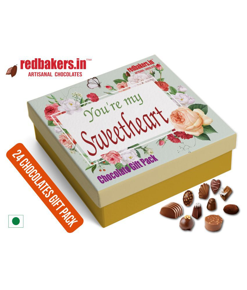 redbakers.in Chocolate Box Sweet Heart 24Chocolates Pack 400 gm