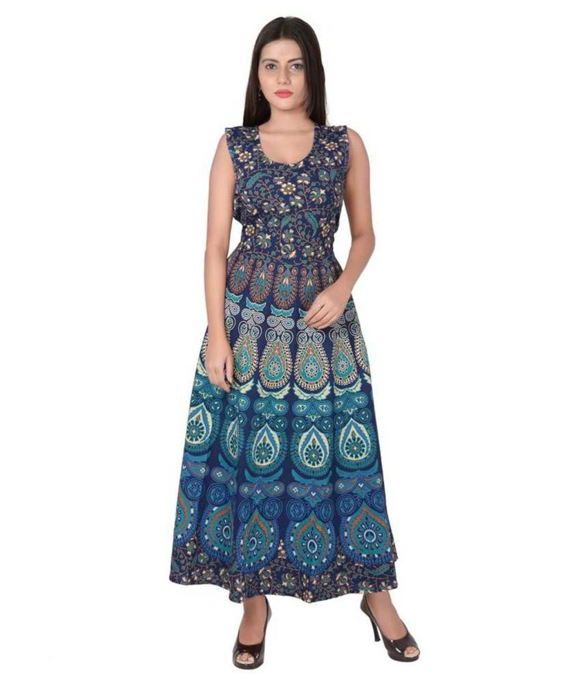 Urbanera Cotton Turquoise A- line Dress