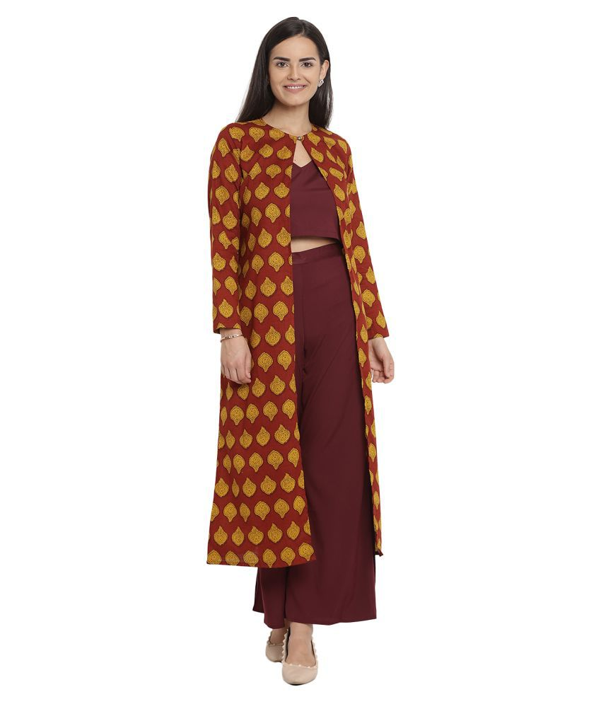 Zoys Poly Georgette Maroon Regular Dress