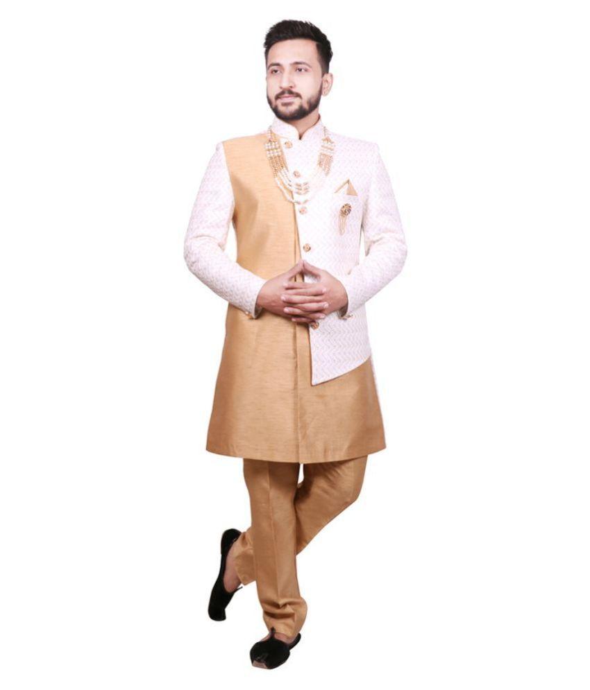 SG RAJASAHAB Cream Silk Blend Sherwani