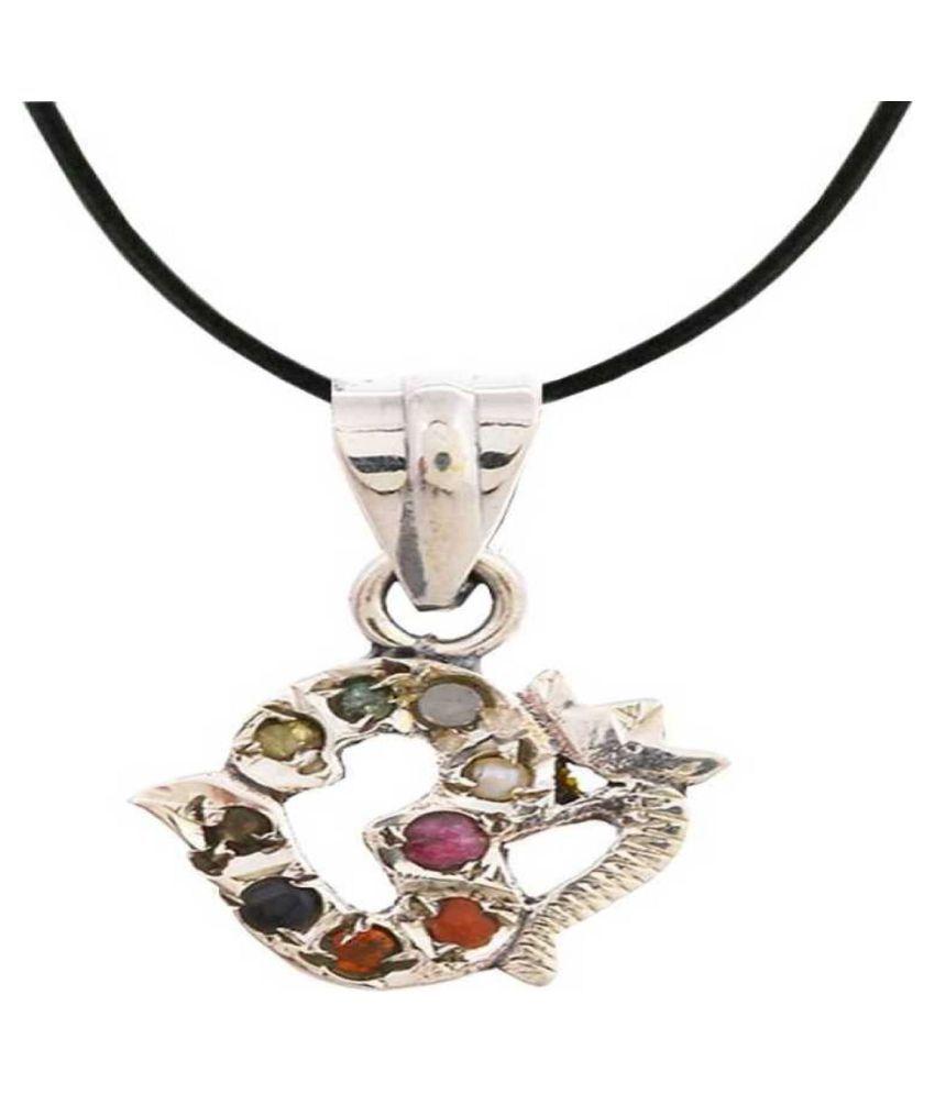 Navratan OM Pendant Original Navratan 92.5 Sterling Silver OM Locket Pendant 9 Gemstone Pendant Navgrah Pendant Good Luck Symbol Valentine Day Gift Pendant for unisex