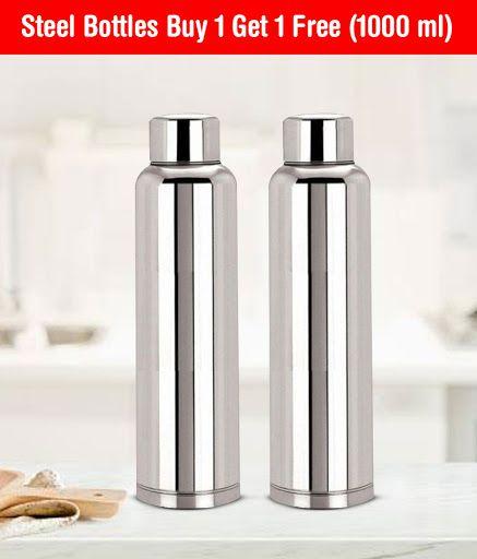 KC 1000 ml Stainless Steel Fridge Water Bottles Buy One Get One Free