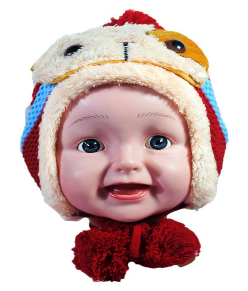 Kids Stylish Winter Cap/ Woollen Cap (Red)
