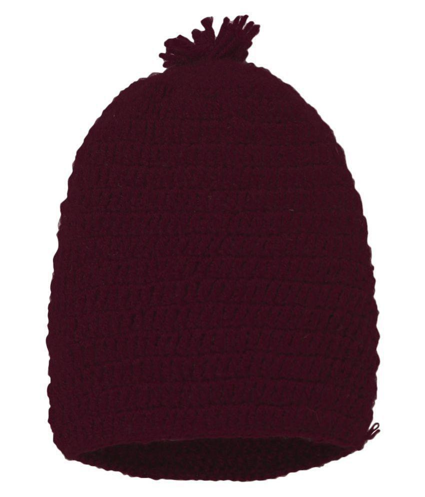 CHUTPUT Maroon Pom Pom Cap
