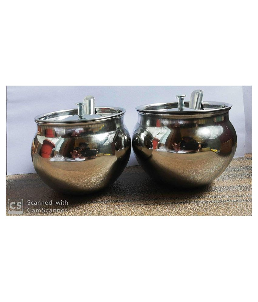 WELCOME  ENTERPRISES Welcome Ghee Pot Steel Oil Container/Dispenser Set of 2 400 mL