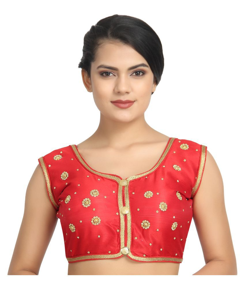 Robyn Rob Red Dupian Silk Readymade with Pad Blouse