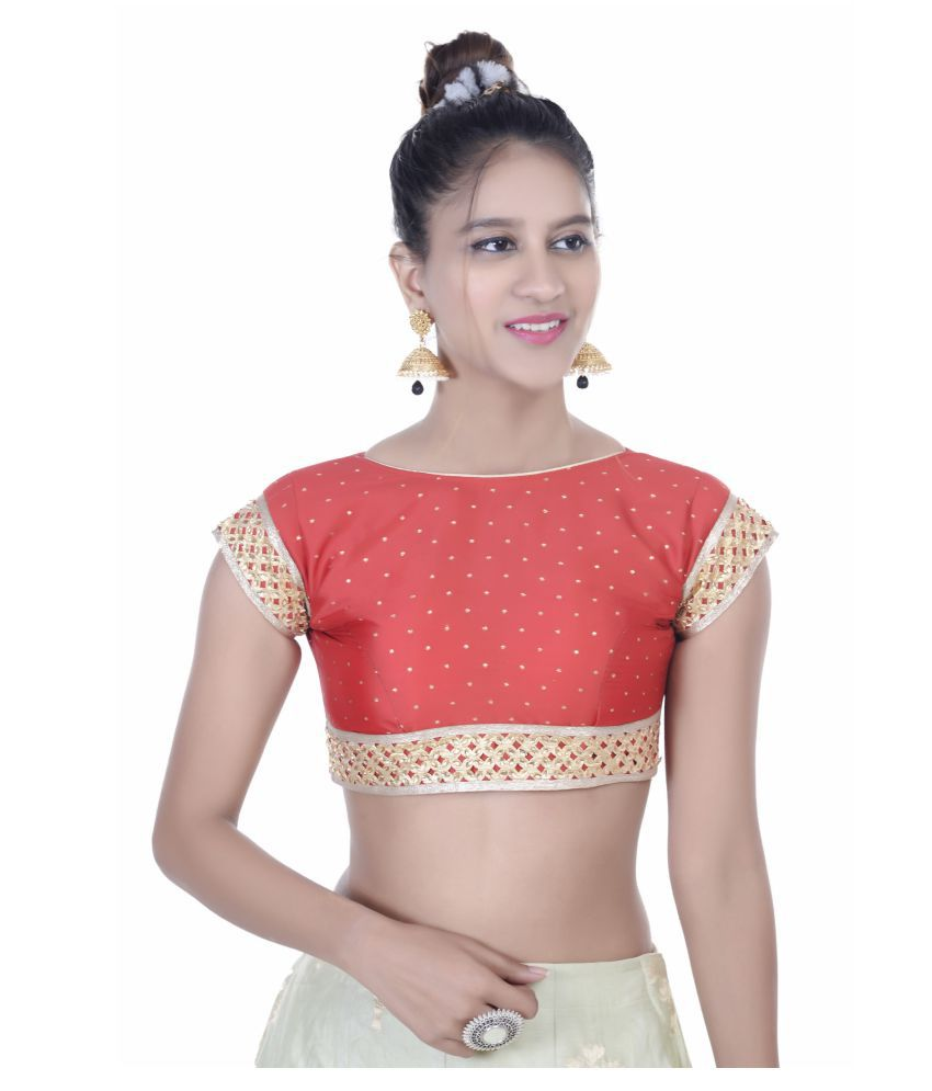 Lady Instyle Red Silk Readymade with Pad Blouse