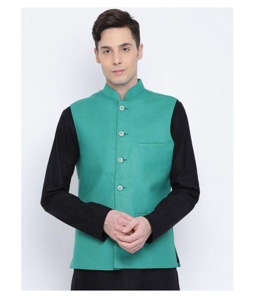 Namaskar Green Cotton Nehru Jacket