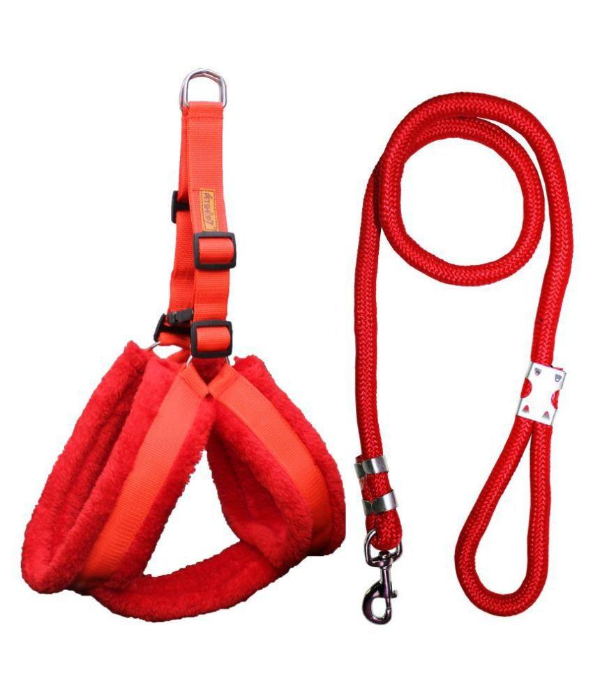 Petshop7 Premium Qaulity Fur Padded Nylon Dog Harness & Leash Rope 1.25inch XL (Chest Size - 30 - 38inch)