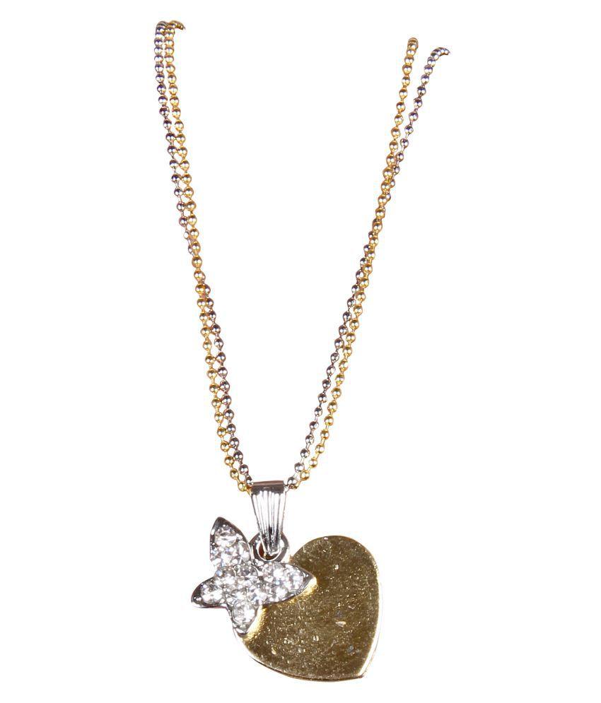 Sunhari Jewels Romantic Love Heart and Star Rhodium Plated Double Chain Pendant Locket For Girls and Women.