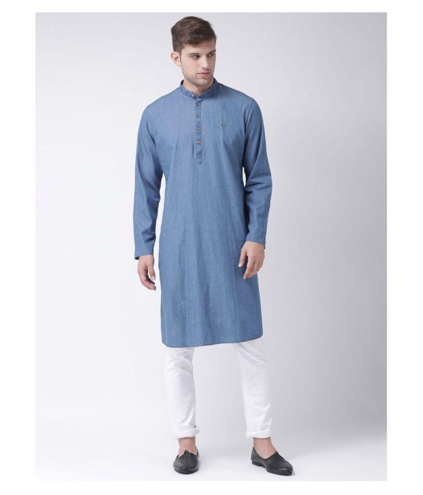 Tabard Blue Cotton Kurta Pyjama Set