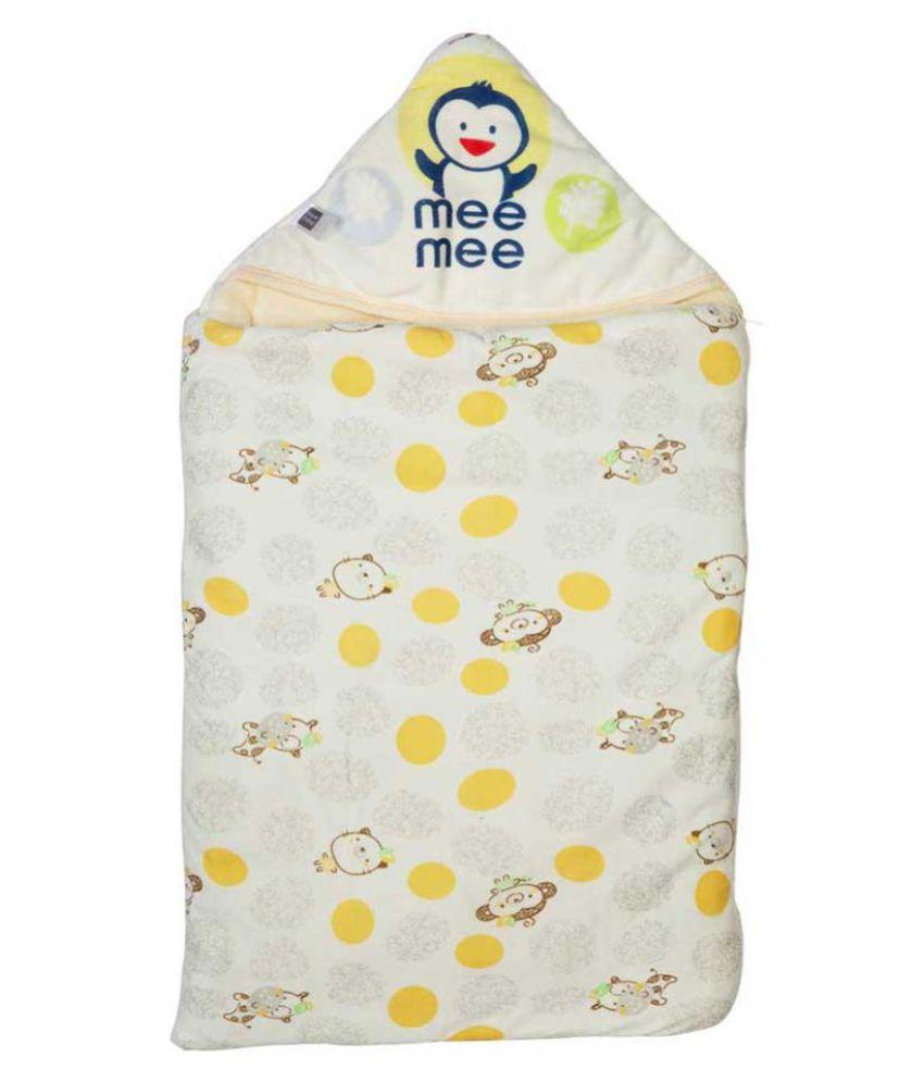 Mee Mee Yellow Cotton Baby Wrap cum blanket ( 40 cm × 3 cm - 1 pcs)