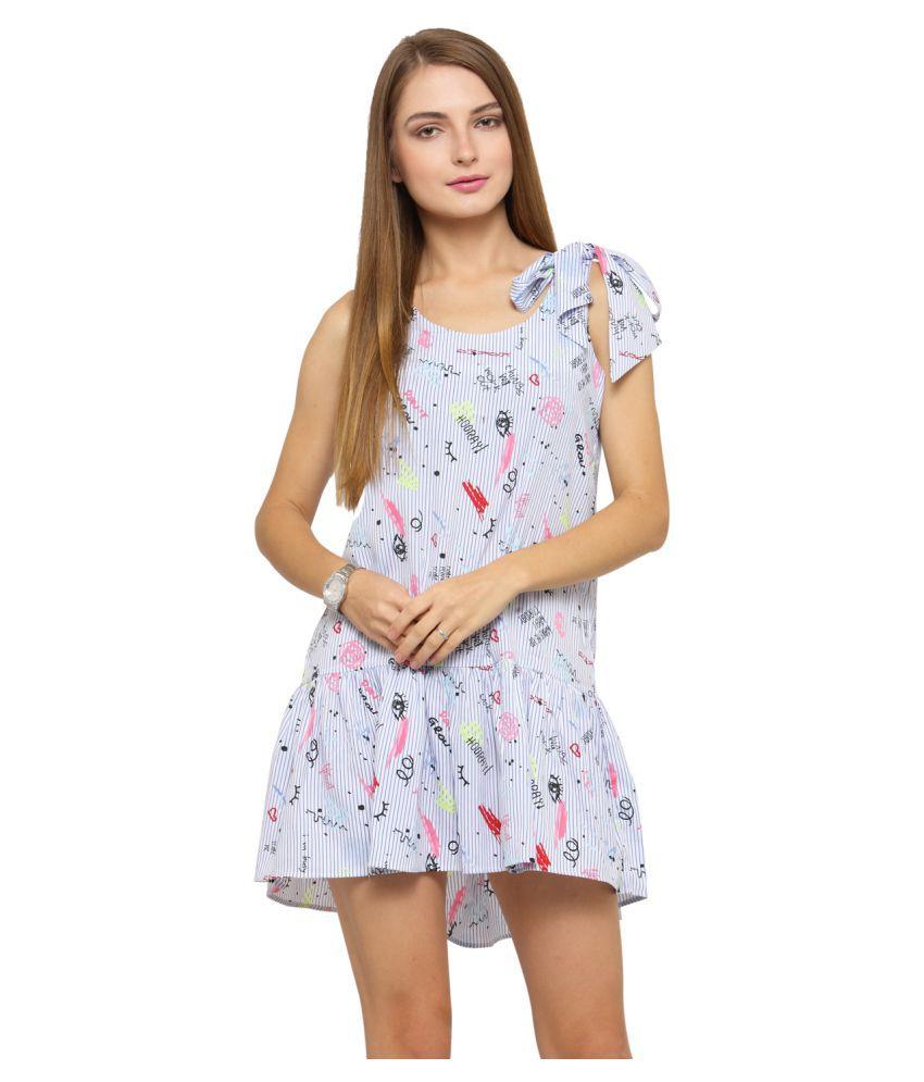 Sartorial Glam Polyester Blue Sheath Dress