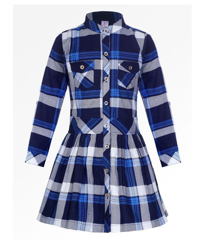 Naughty Ninos Girls Navy Blue And White Checked Dress