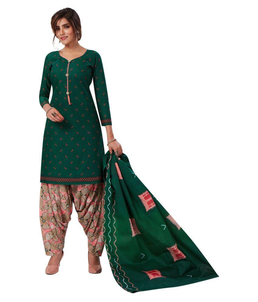 Salwar Studio Green Cotton Dress Material
