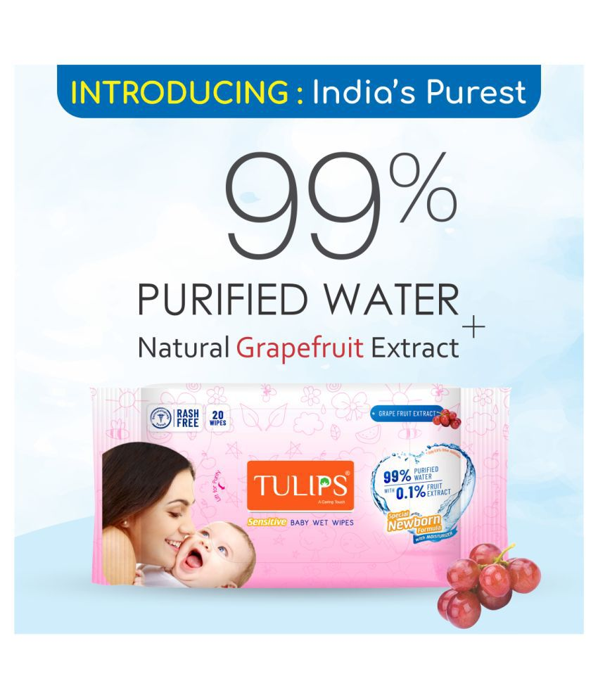 Tulips New Born Baby Wet Wipes (20 Wipes x 5 Packs) for Gentle Cleaning/Moisturising, Rash Free, 99% Purified Water with Grapefruit Extracts