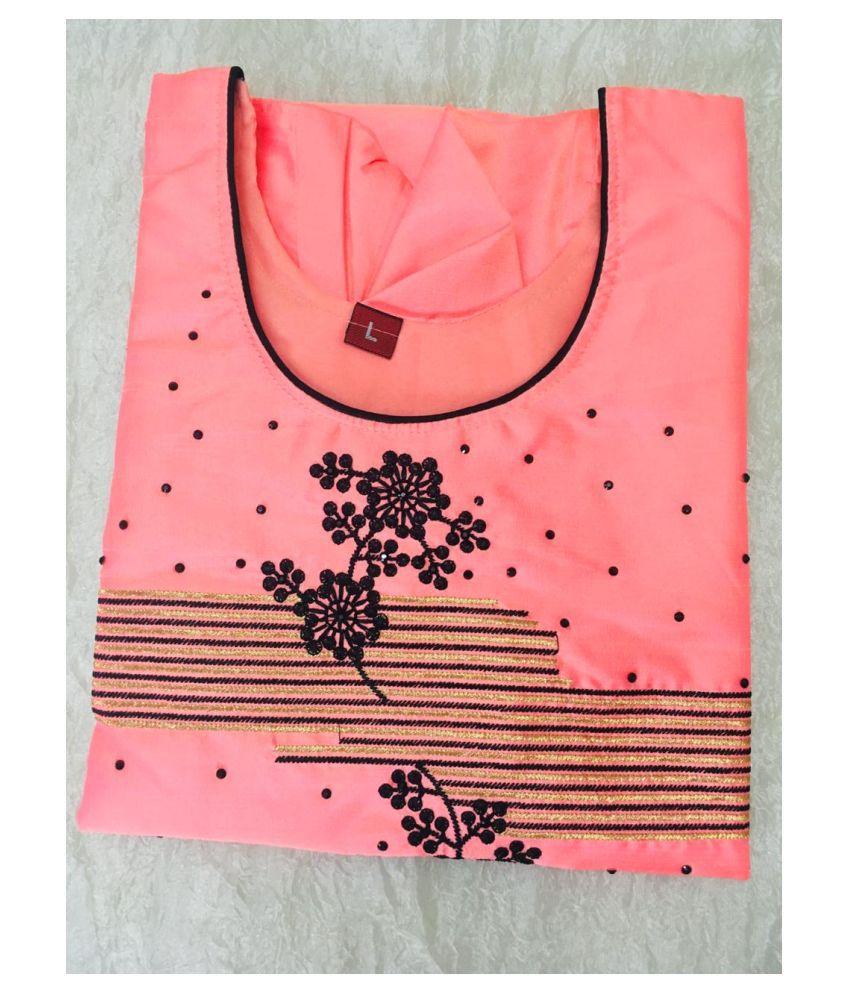 USHAKIRAN Pink Bangalore Silk Straight Kurti