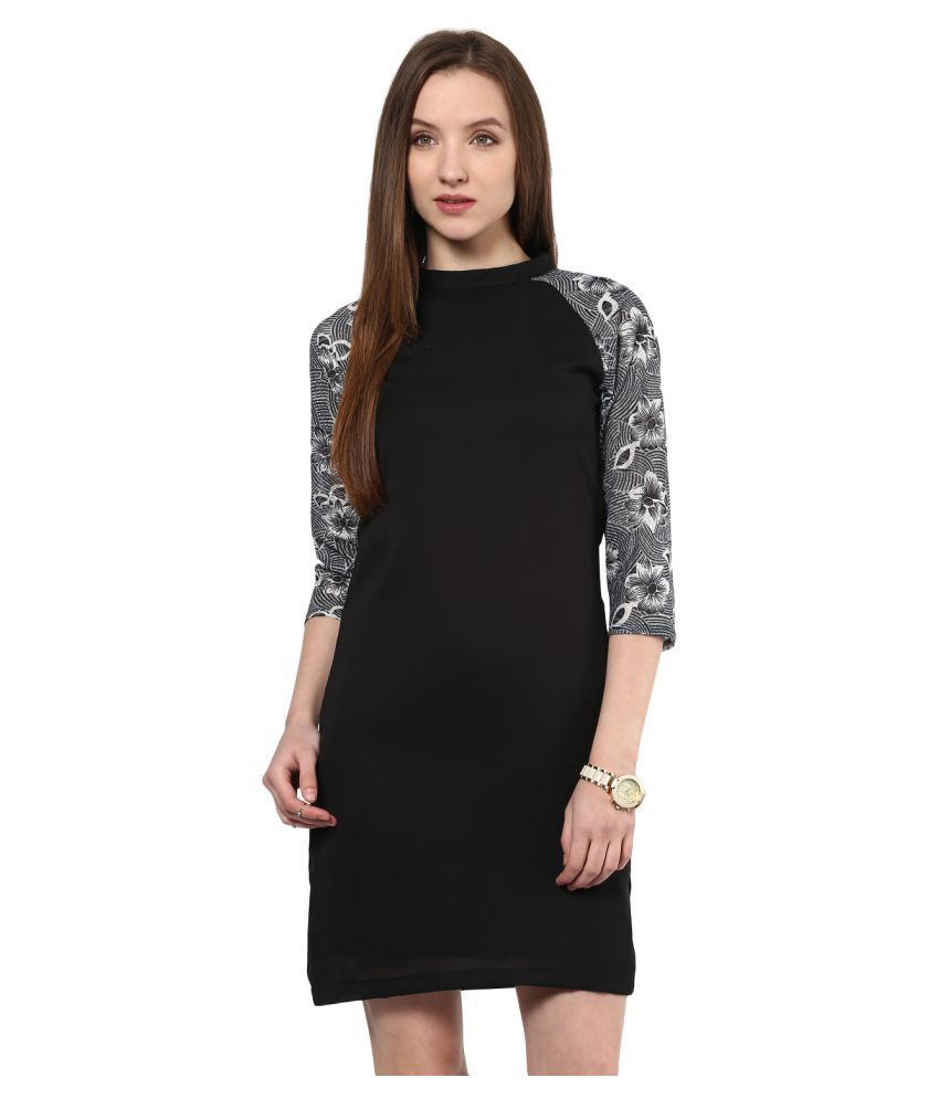 The Vanca Polyester Black Fit And Flare Dress