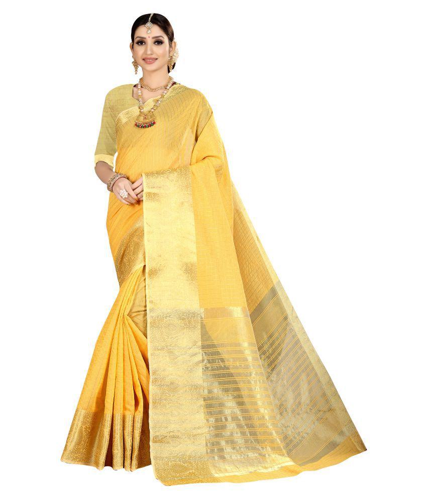 Jhabroo Yellow Kanchipuram Saree