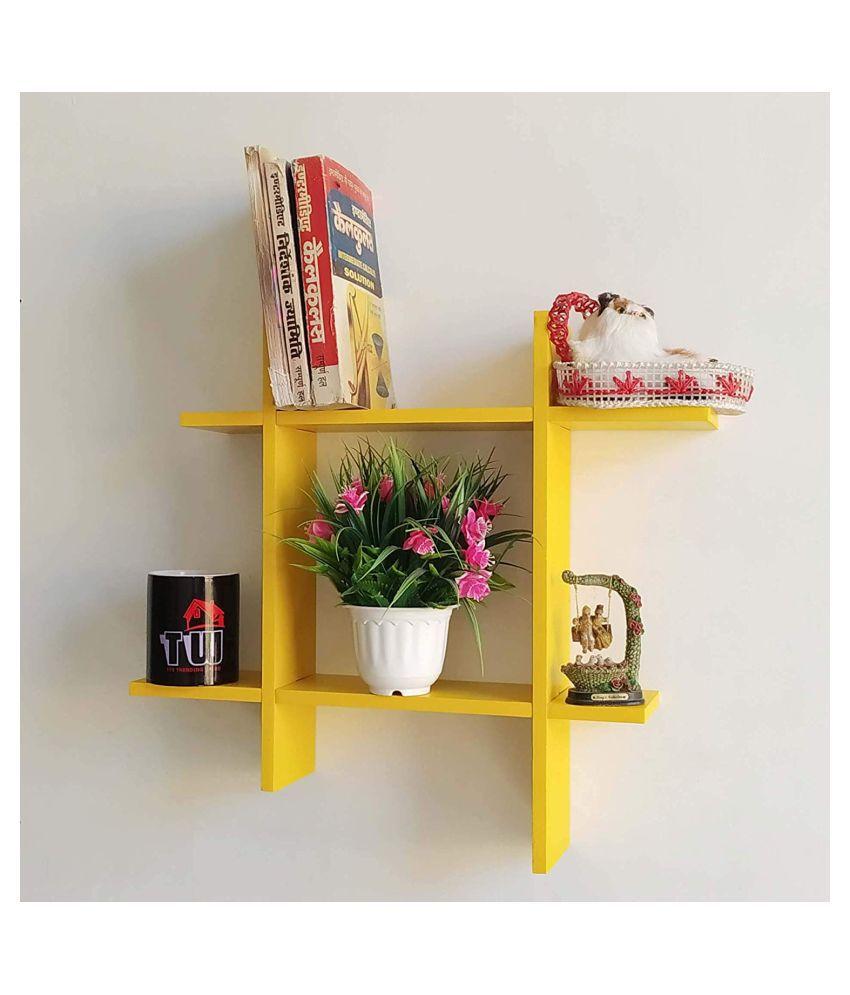 saqib ali wooden handicrafts Floating Shelves Yellow MDF - Pack of 1