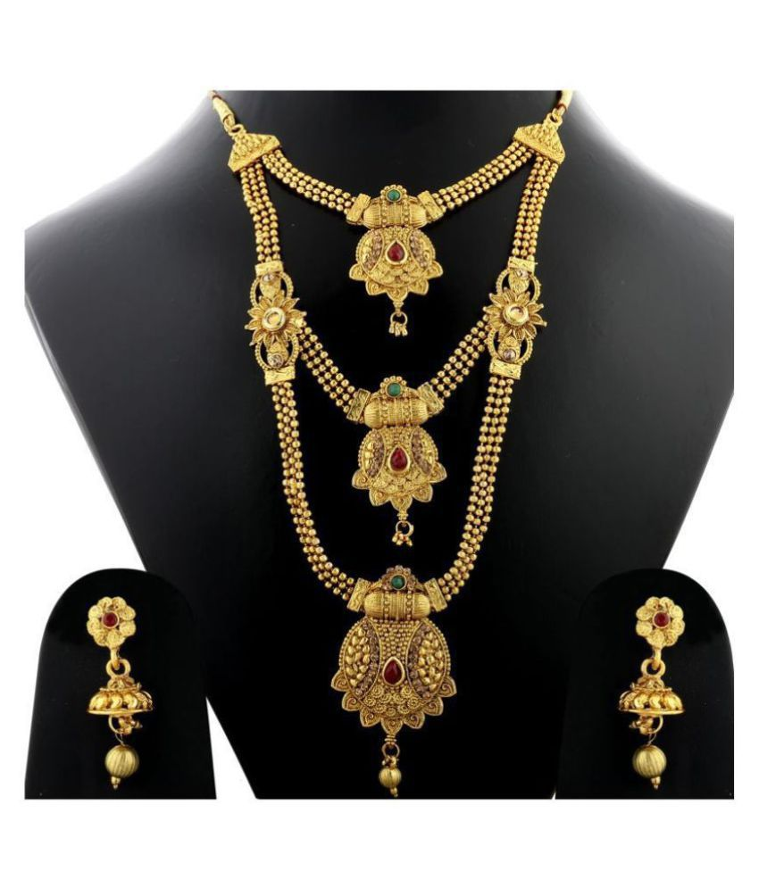 Silver Shine Traditional Gold Plated Ethnic Red and Green Kundan Stone Studded Triple Layer Three Chain Type Designer Long Bridal Wedding Jevellry Set For Girls and Women