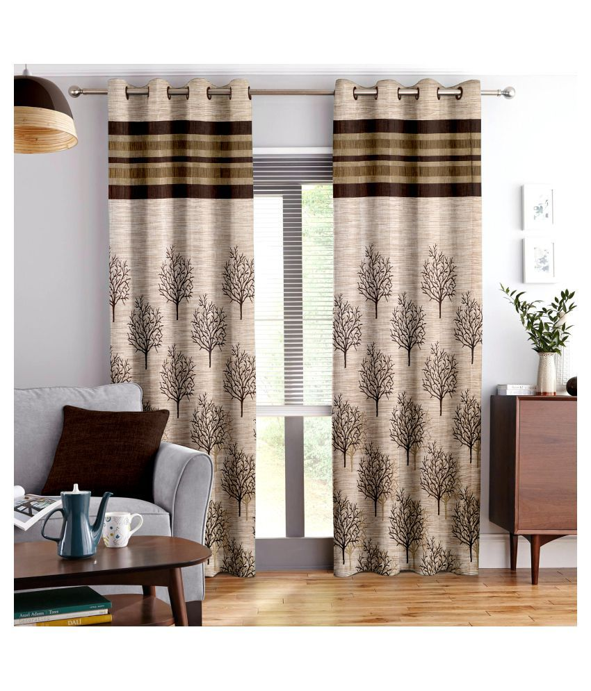 Story@Home Set of 2 Door Blackout Room Darkening Eyelet Jute Curtains Brown
