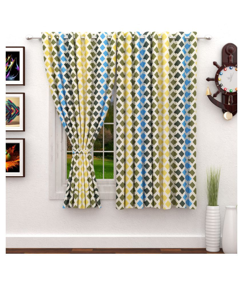 Story@Home Set of 2 Window Semi-Transparent Eyelet Polyester Curtains Multi Color