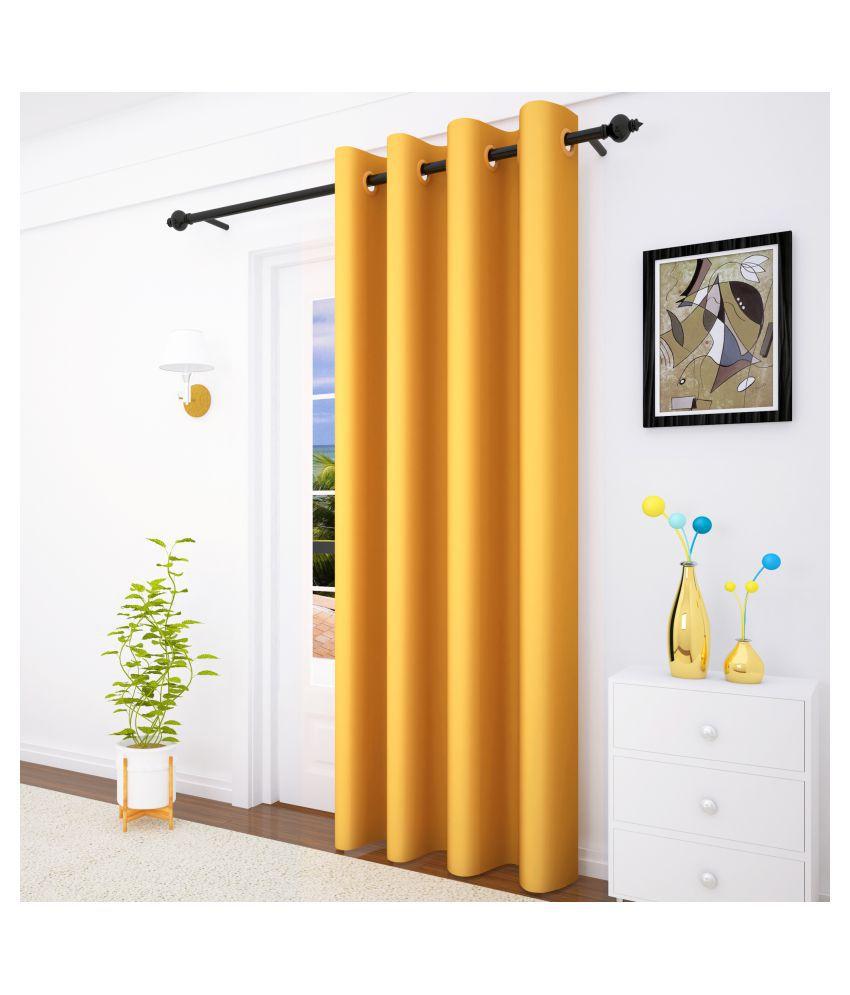 Story@Home Single Door Blackout Room Darkening Eyelet Silk Curtains Gold