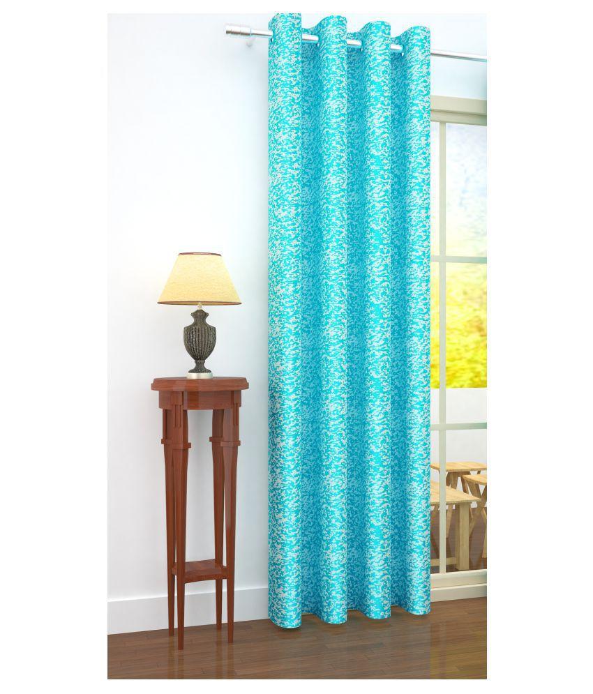 Story@Home Single Door Blackout Room Darkening Eyelet Jute Curtains Blue