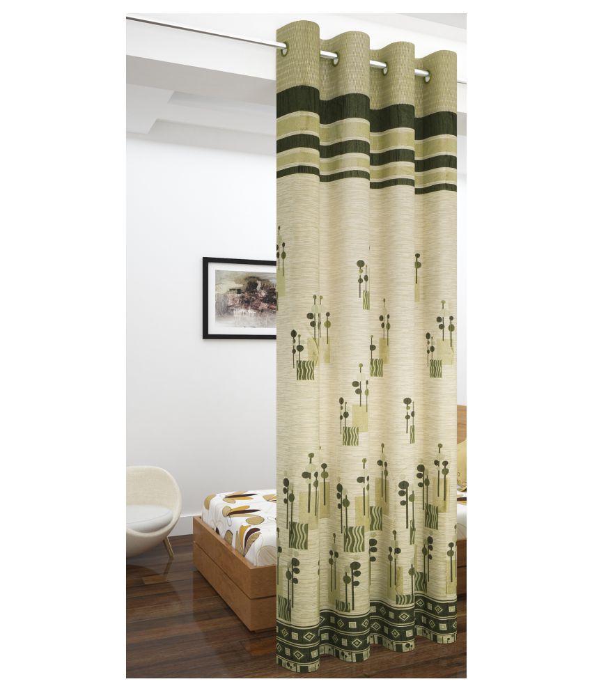 Story@Home Single Long Door Blackout Room Darkening Eyelet Jute Curtains Green