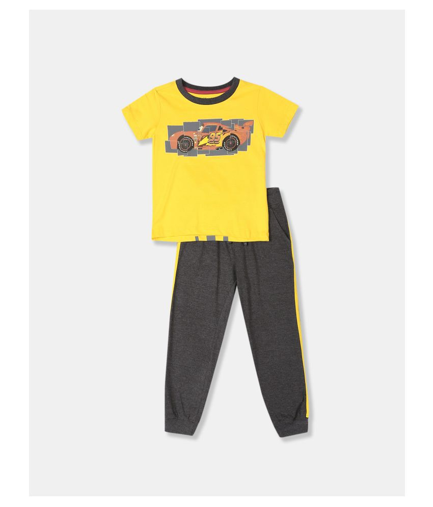 Boys Yellow And Grey Disney Cars Graphic T-Shirt And Joggers Set