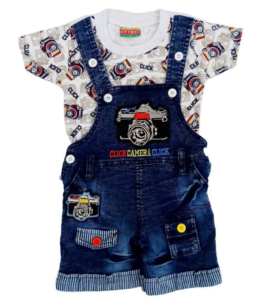 City Boy Kids Wear I-Top & Bottom Dungaree Set For Baby Boy Half Sleeves