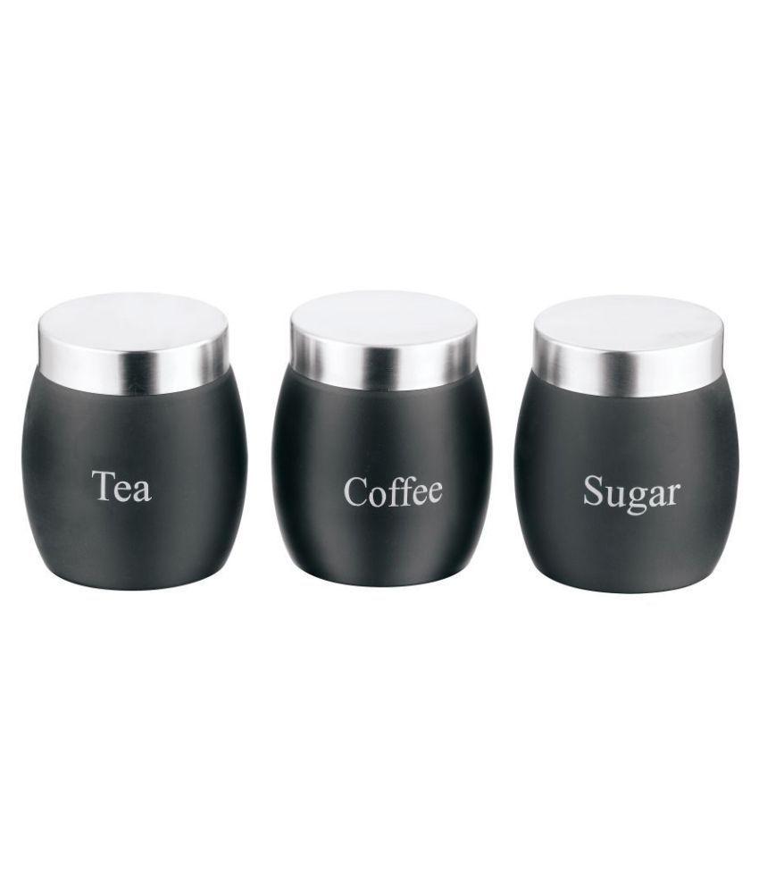 BOXY Black Barrel Small Steel Tea/Coffee/Sugar Container Set of 3 950 mL