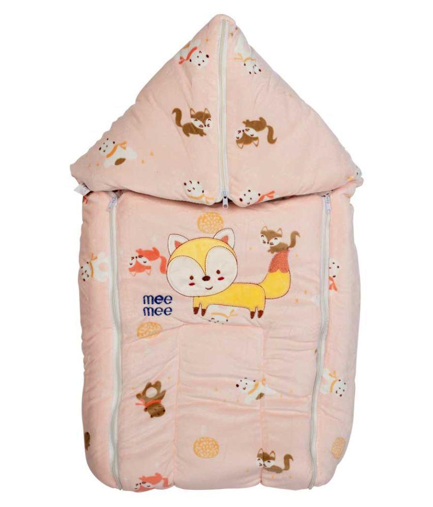 Mee Mee Pink Cotton Baby Wrap cum blanket ( 42 cm × 2 cm - 1 pcs)