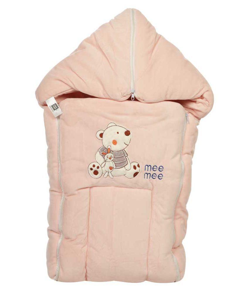 Mee Mee Pink Cotton Baby Wrap cum blanket ( 41 cm × 3 cm - 1 pcs)