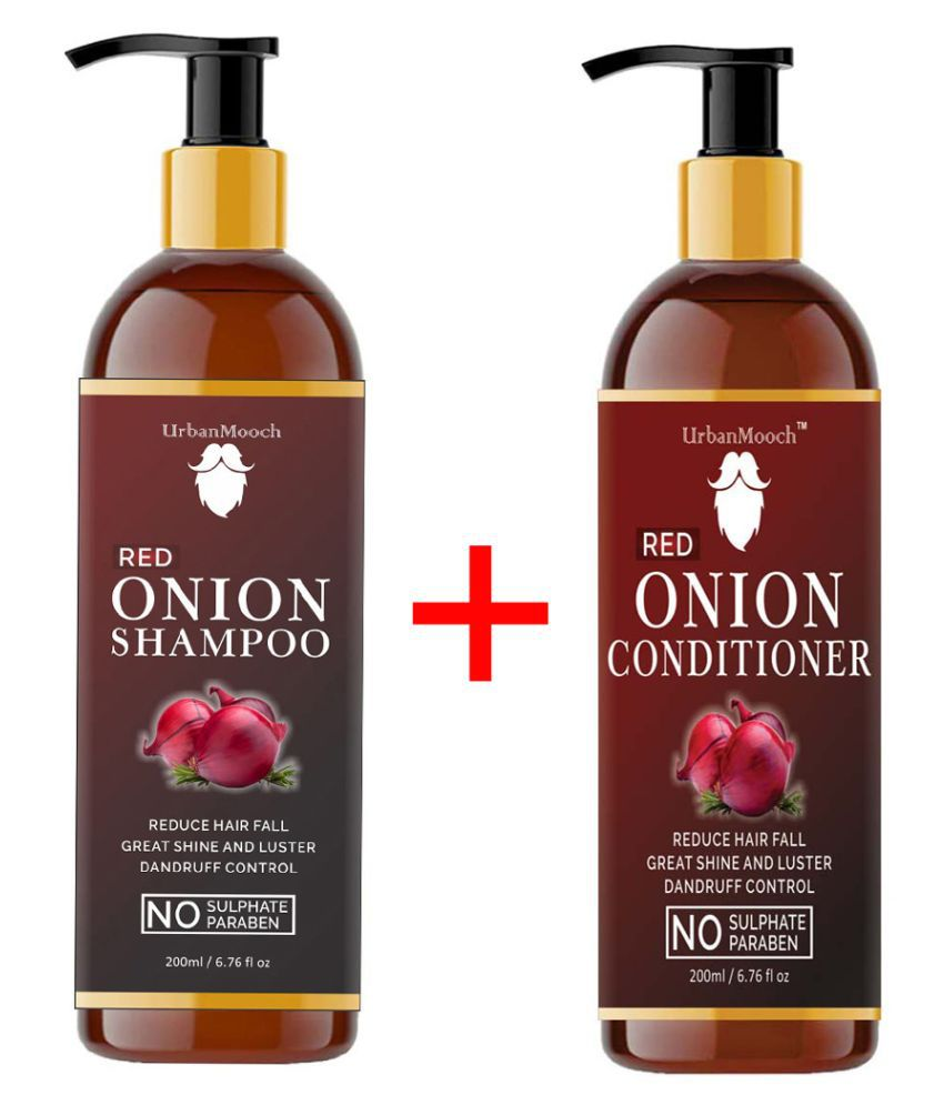 UrbanMooch Red ONION Shampoo And ONION Conditioner For Hair Growth,& Shampoo + Conditioner 400 mL Pack of 2