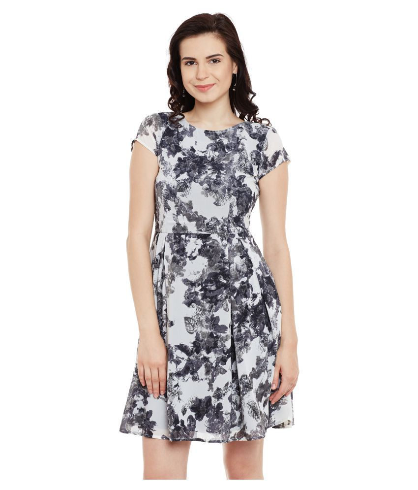The Vanca Georgette Multi Color Fit And Flare Dress