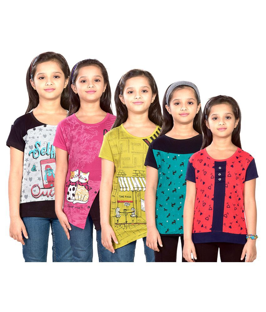 DSP Trends Girl's Printed Cotton Jersy T-Shirt (Pack of 5)